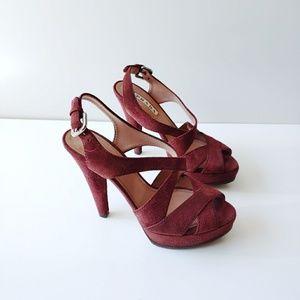 Prada Suede Leather Platform Burgundy Heels 6.5